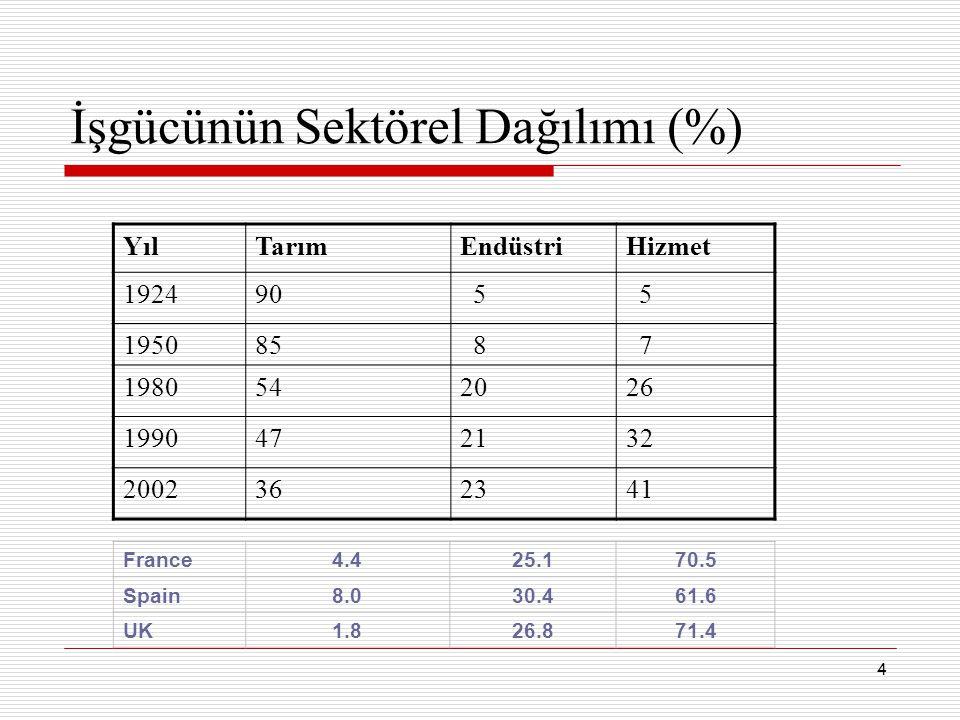 İşgücünün Sektörel Dağılımı (%)