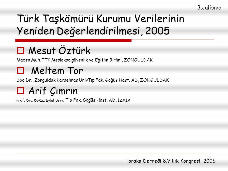 Türk Taşkömürü Kurumu Verilerinin Yeniden Değerlendirilmesi, 2005