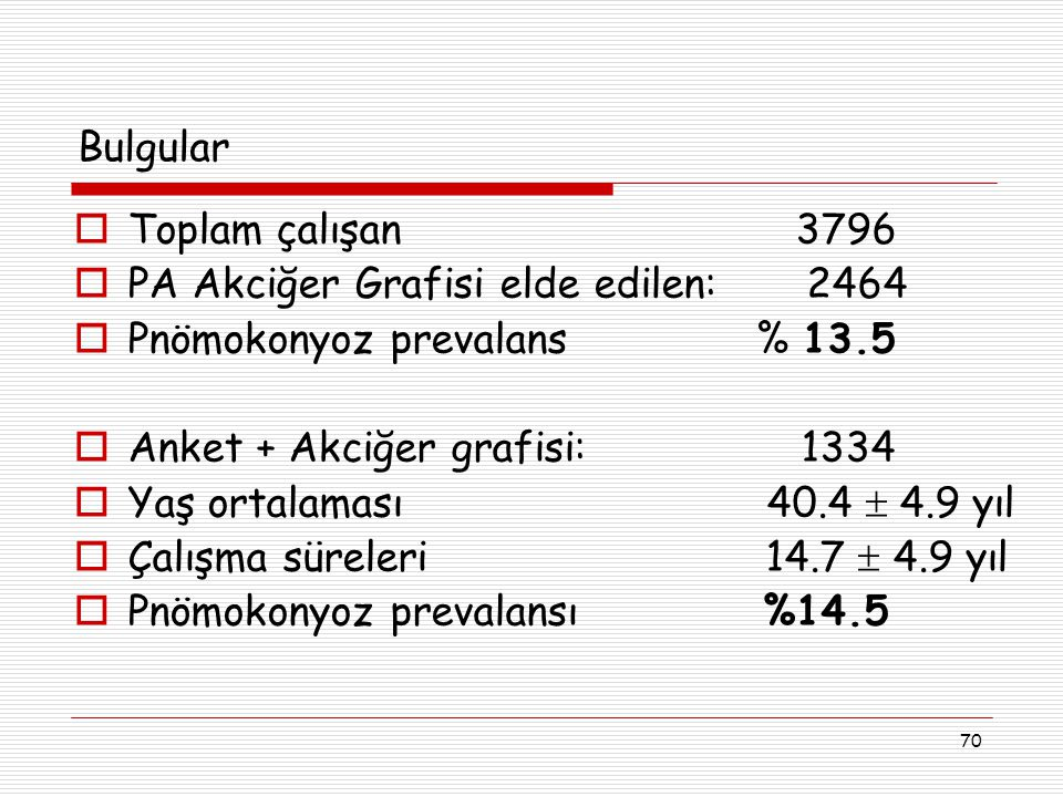 Bulgular Toplam çalışan 3796. PA Akciğer Grafisi elde edilen: 2464.