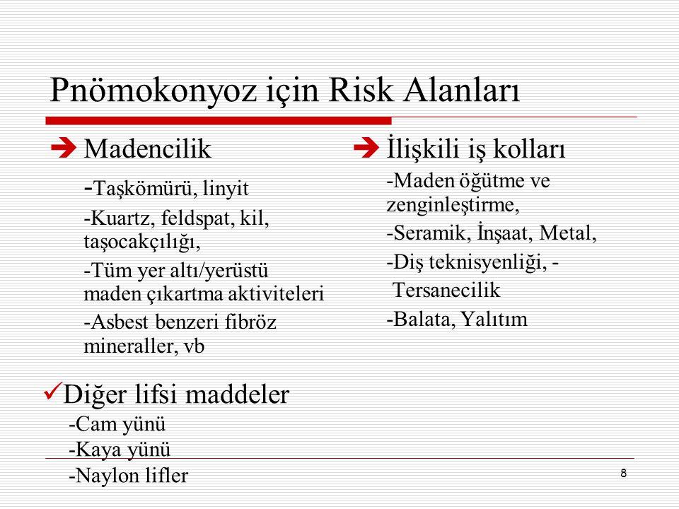 Pnömokonyoz için Risk Alanları