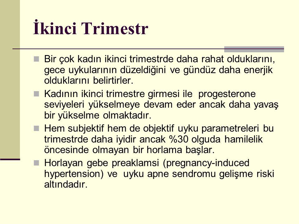 İkinci Trimestr Bir çok kadın ikinci trimestrde daha rahat olduklarını, gece uykularının düzeldiğini ve gündüz daha enerjik olduklarını belirtirler.