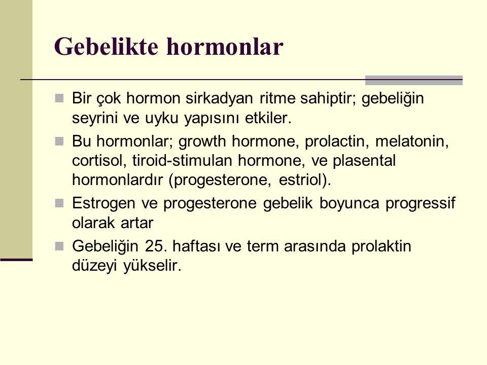 Gebelikte hormonlar Bir çok hormon sirkadyan ritme sahiptir; gebeliğin seyrini ve uyku yapısını etkiler.