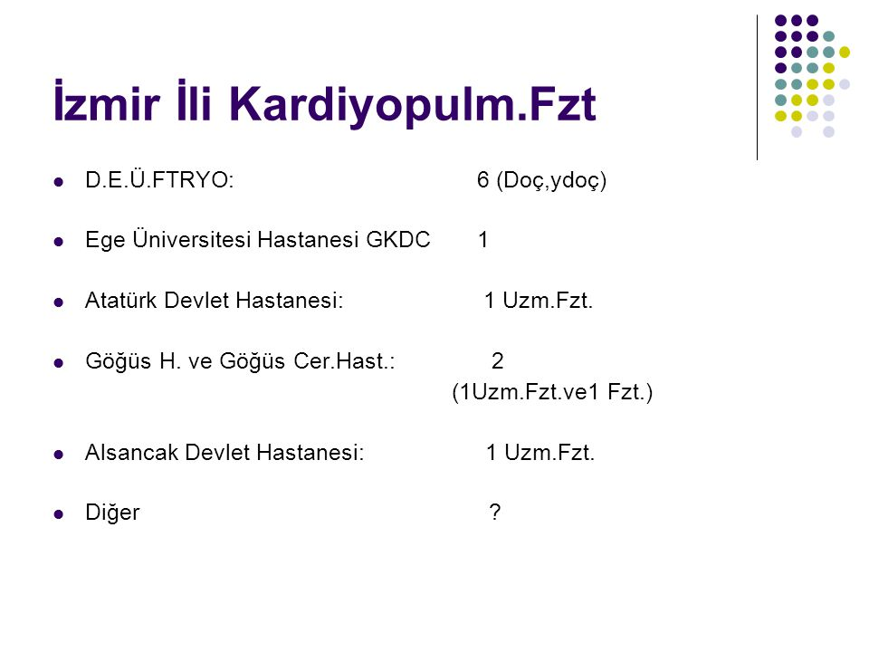 İzmir İli Kardiyopulm.Fzt