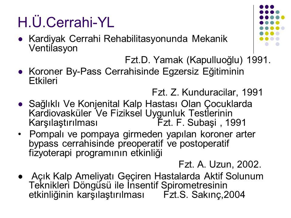 H.Ü.Cerrahi-YL Kardiyak Cerrahi Rehabilitasyonunda Mekanik Ventilasyon