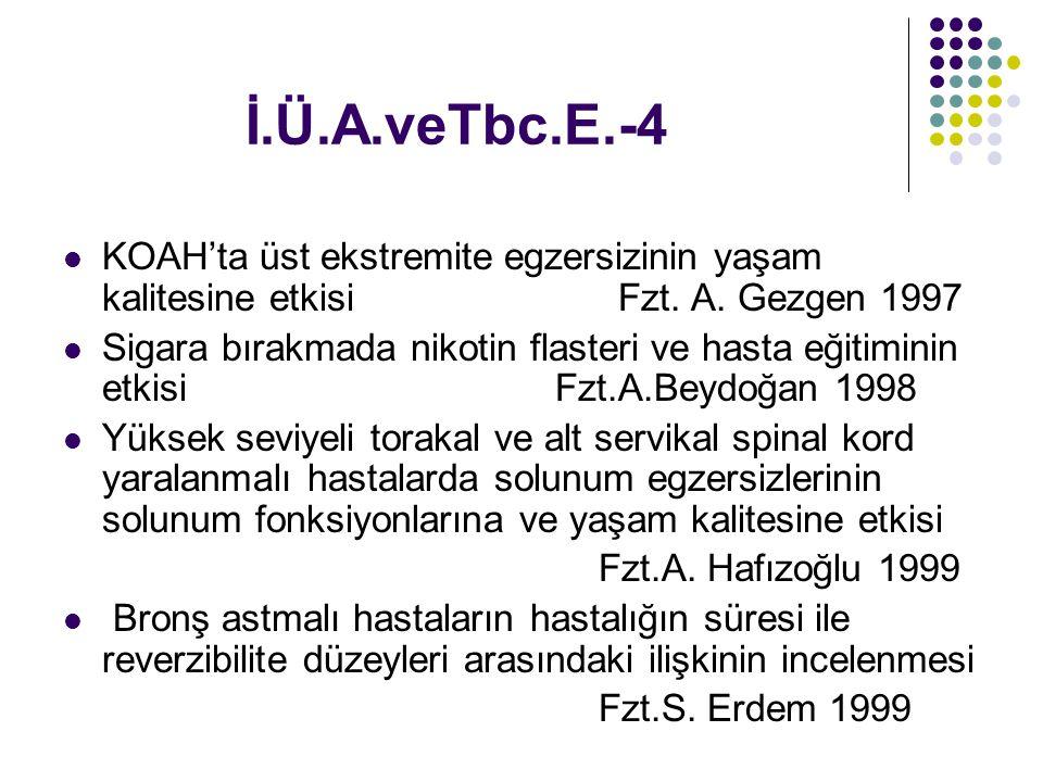 İ.Ü.A.veTbc.E.-4 KOAH'ta üst ekstremite egzersizinin yaşam kalitesine etkisi Fzt. A. Gezgen 1997.