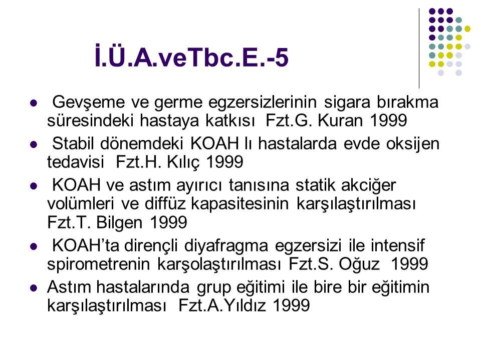 İ.Ü.A.veTbc.E.-5 Gevşeme ve germe egzersizlerinin sigara bırakma süresindeki hastaya katkısı Fzt.G. Kuran 1999.