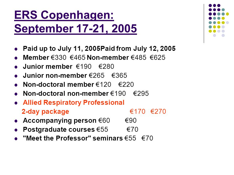 ERS Copenhagen: September 17-21, 2005