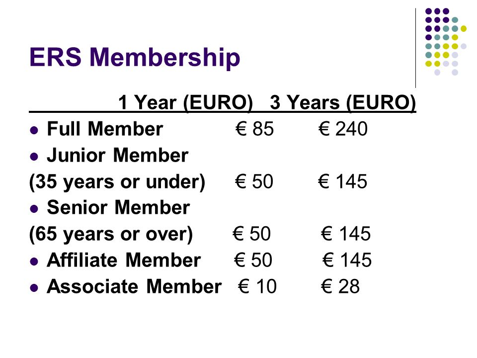 ERS Membership 1 Year (EURO) 3 Years (EURO) Full Member € 85 € 240