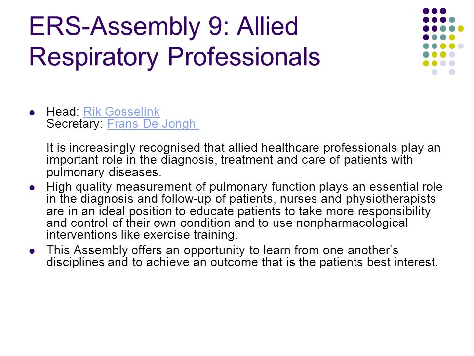ERS-Assembly 9: Allied Respiratory Professionals