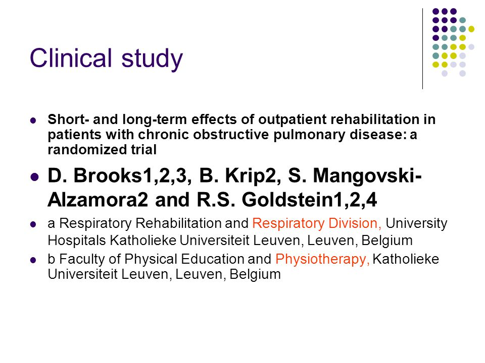 Clinical study Short- and long-term effects of outpatient rehabilitation in patients with chronic obstructive pulmonary disease: a randomized trial.