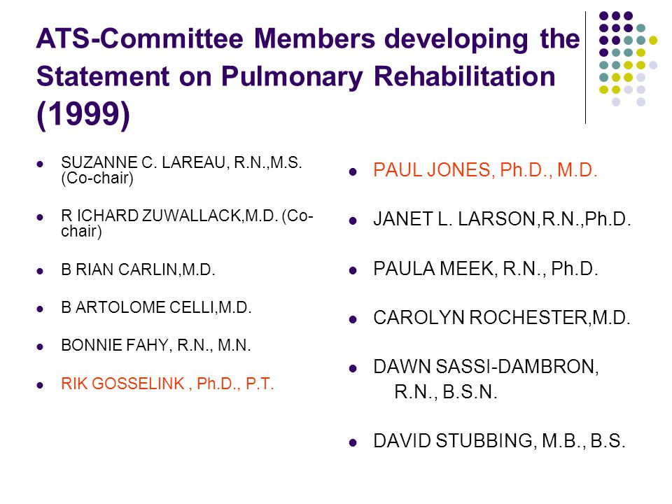 ATS-Committee Members developing the Statement on Pulmonary Rehabilitation (1999)
