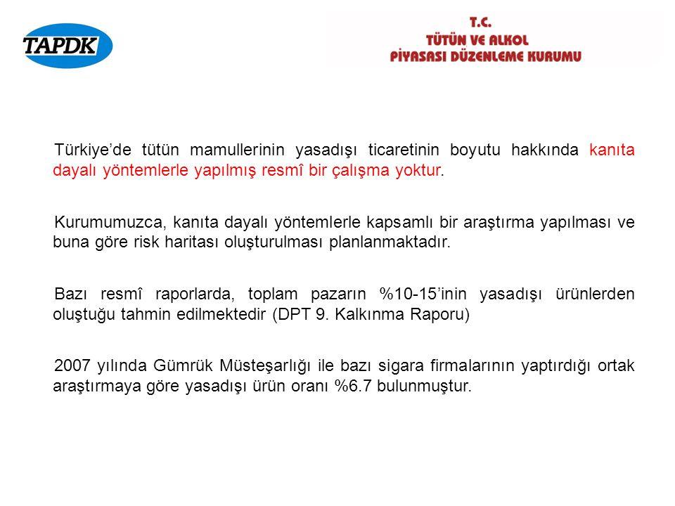 Türkiye'de tütün mamullerinin yasadışı ticaretinin boyutu hakkında kanıta dayalı yöntemlerle yapılmış resmî bir çalışma yoktur.