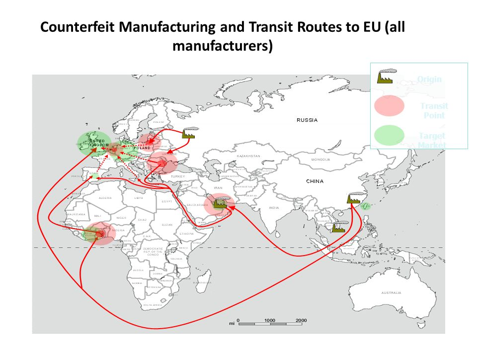 Counterfeit Manufacturing and Transit Routes to EU (all manufacturers)