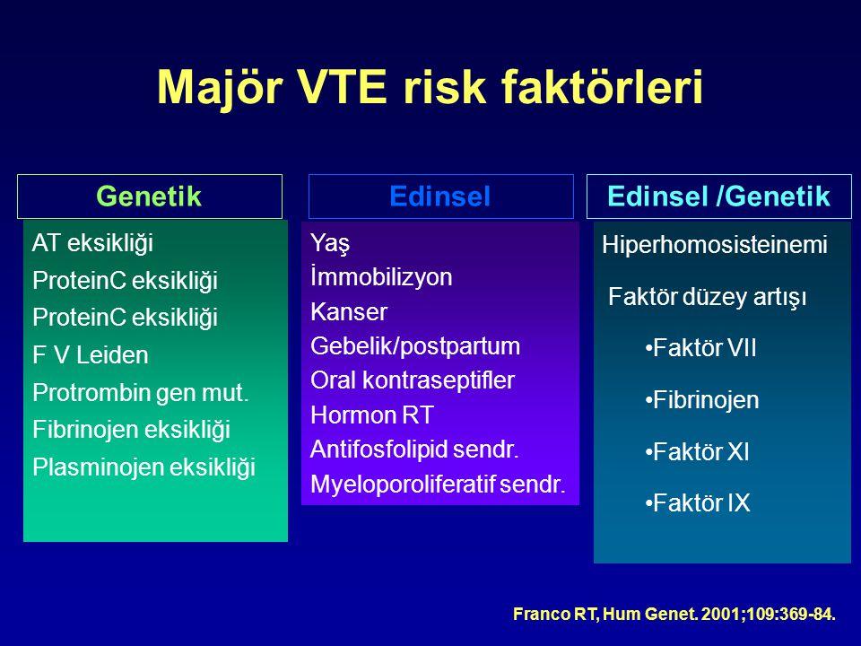 Majör VTE risk faktörleri