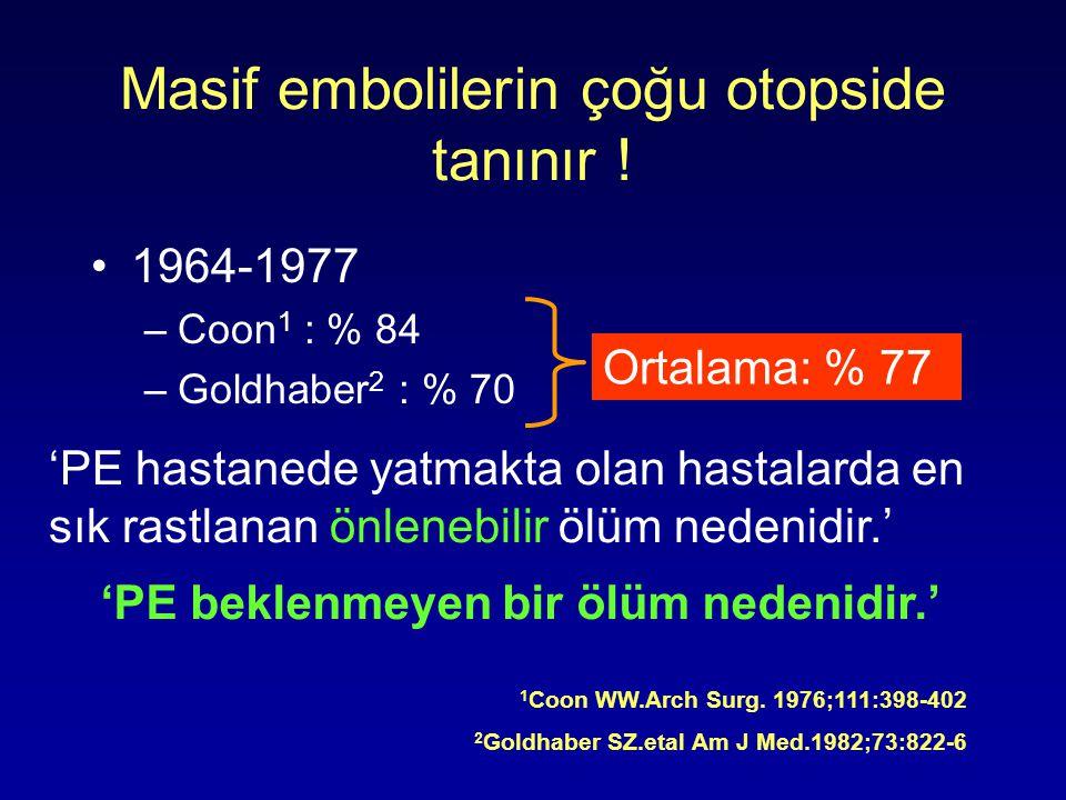 Masif embolilerin çoğu otopside tanınır !