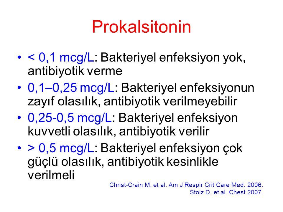 Prokalsitonin < 0,1 mcg/L: Bakteriyel enfeksiyon yok, antibiyotik verme.