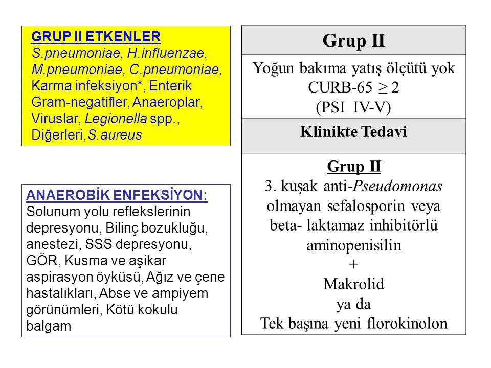 Grup II Yoğun bakıma yatış ölçütü yok CURB-65 ≥ 2 (PSI IV-V)