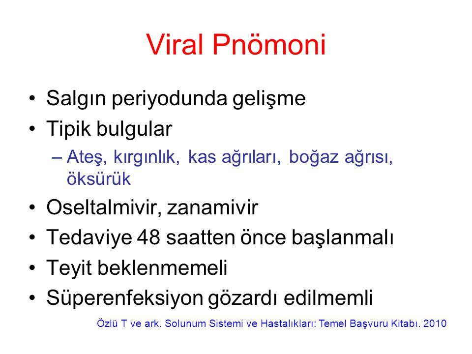 Viral Pnömoni Salgın periyodunda gelişme Tipik bulgular