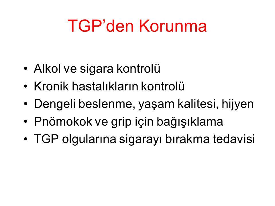 TGP'den Korunma Alkol ve sigara kontrolü Kronik hastalıkların kontrolü