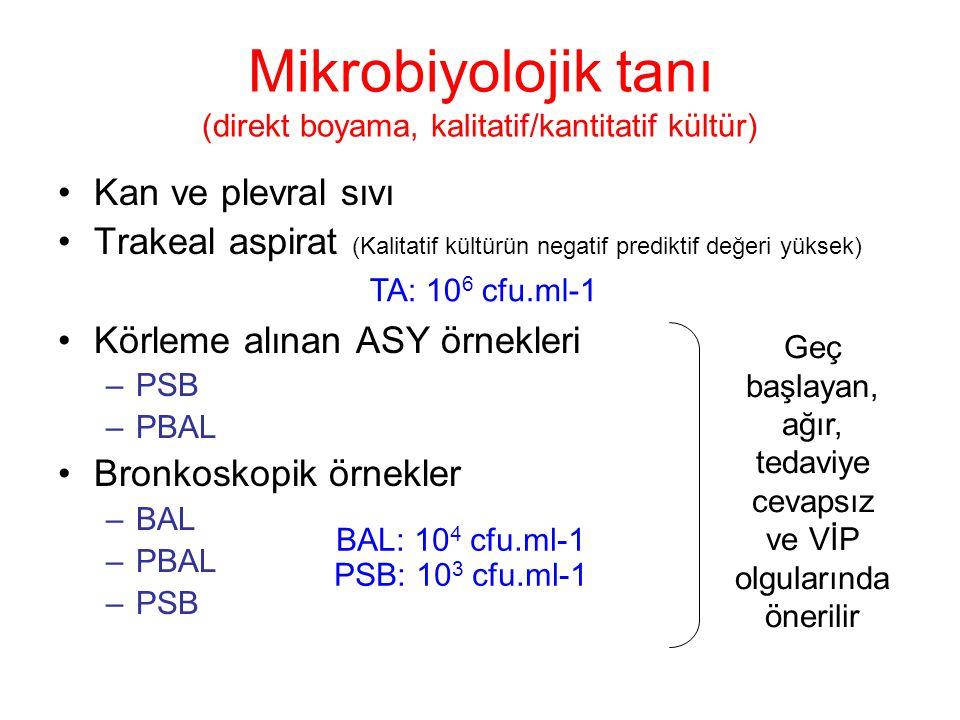 Mikrobiyolojik tanı (direkt boyama, kalitatif/kantitatif kültür)