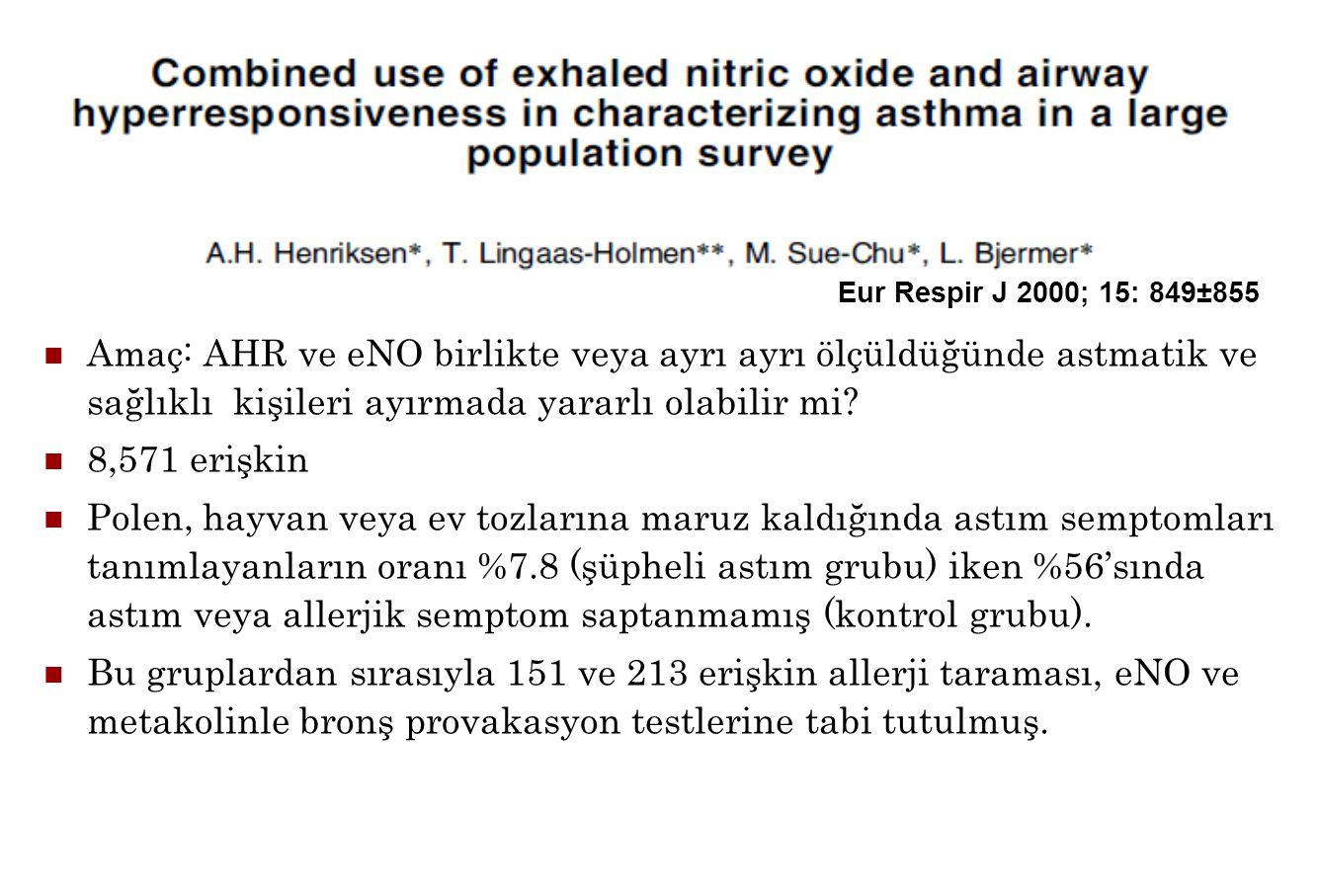Eur Respir J 2000; 15: 849±855 Amaç: AHR ve eNO birlikte veya ayrı ayrı ölçüldüğünde astmatik ve sağlıklı kişileri ayırmada yararlı olabilir mi