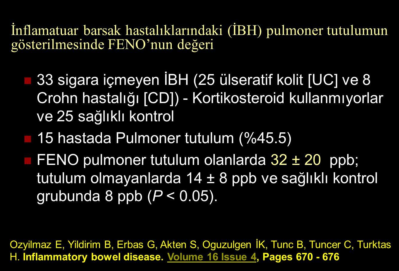 15 hastada Pulmoner tutulum (%45.5)