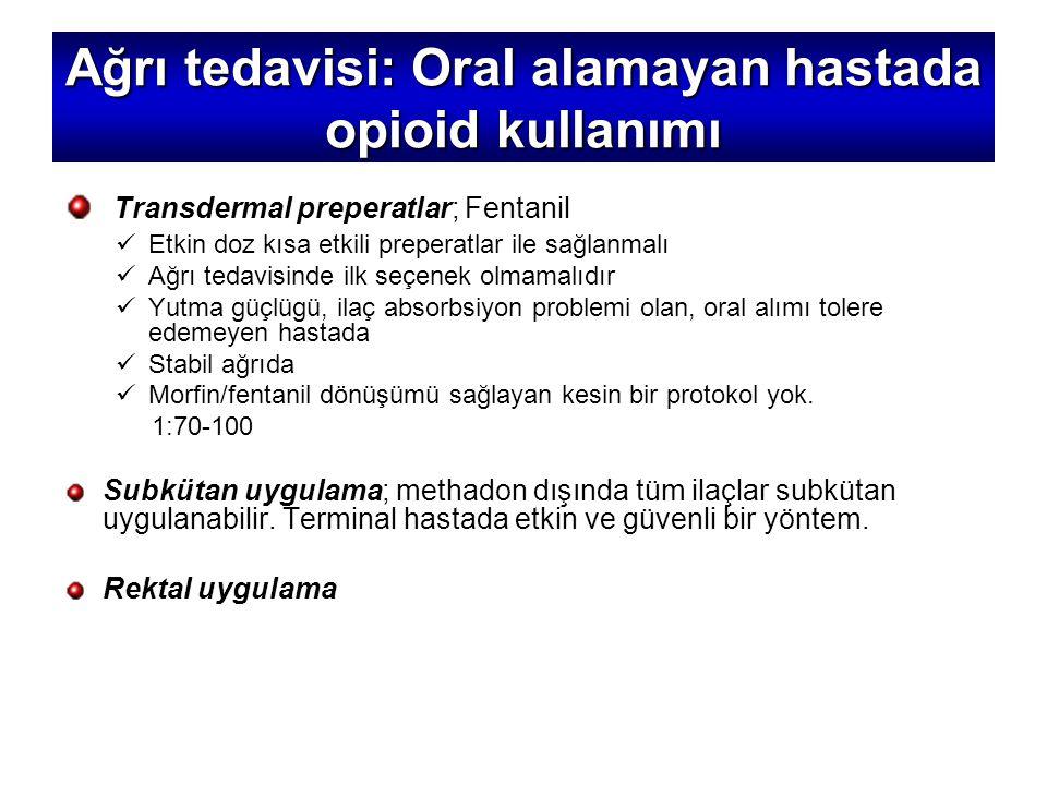 Ağrı tedavisi: Oral alamayan hastada opioid kullanımı
