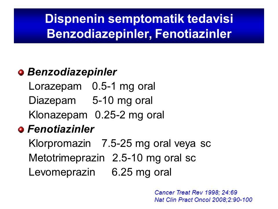 Dispnenin semptomatik tedavisi Benzodiazepinler, Fenotiazinler