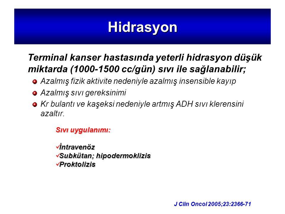 Hidrasyon Terminal kanser hastasında yeterli hidrasyon düşük miktarda (1000-1500 cc/gün) sıvı ile sağlanabilir;