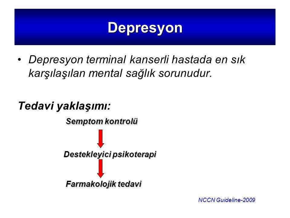 Depresyon Depresyon terminal kanserli hastada en sık karşılaşılan mental sağlık sorunudur. Tedavi yaklaşımı:
