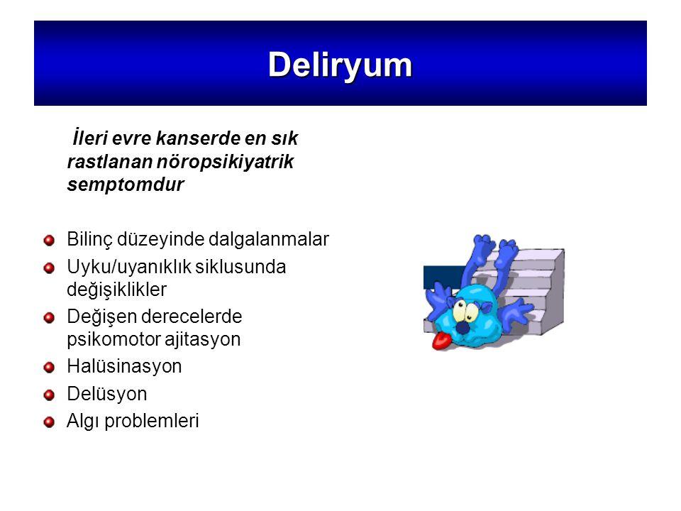 Deliryum İleri evre kanserde en sık rastlanan nöropsikiyatrik semptomdur. Bilinç düzeyinde dalgalanmalar.
