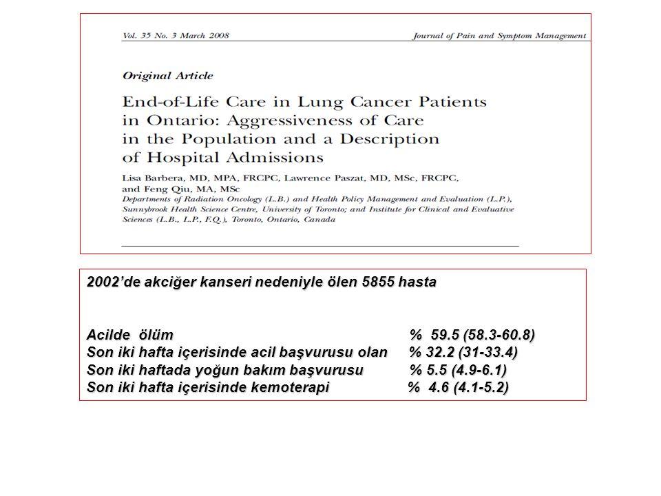 2002'de akciğer kanseri nedeniyle ölen 5855 hasta