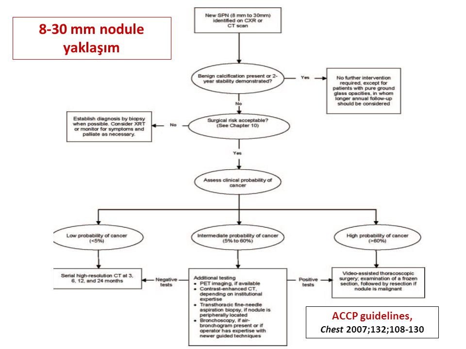 8-30 mm nodule yaklaşım ACCP guidelines, Chest 2007;132;108-130