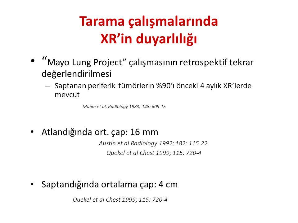 Tarama çalışmalarında XR'in duyarlılığı