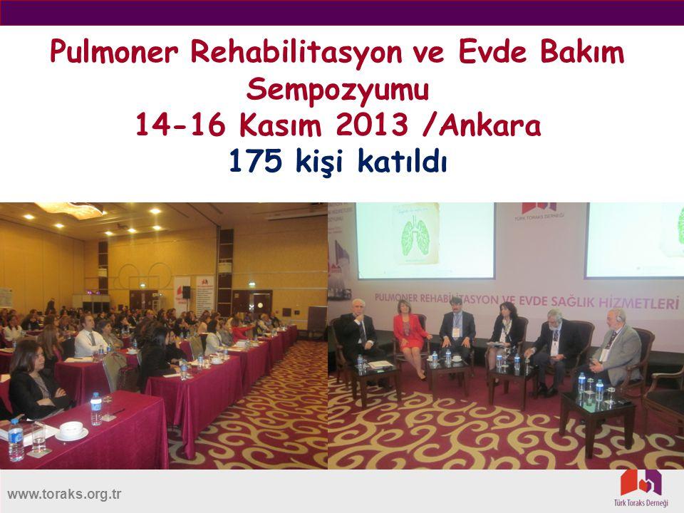 Pulmoner Rehabilitasyon ve Evde Bakım Sempozyumu 14-16 Kasım 2013 /Ankara 175 kişi katıldı