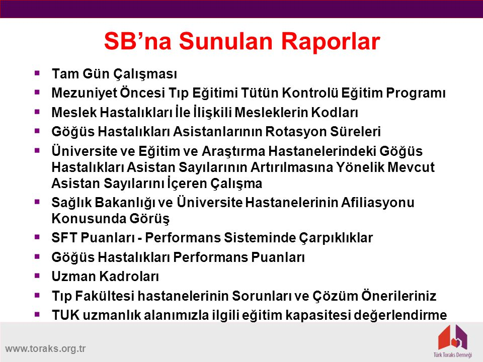 SB'na Sunulan Raporlar