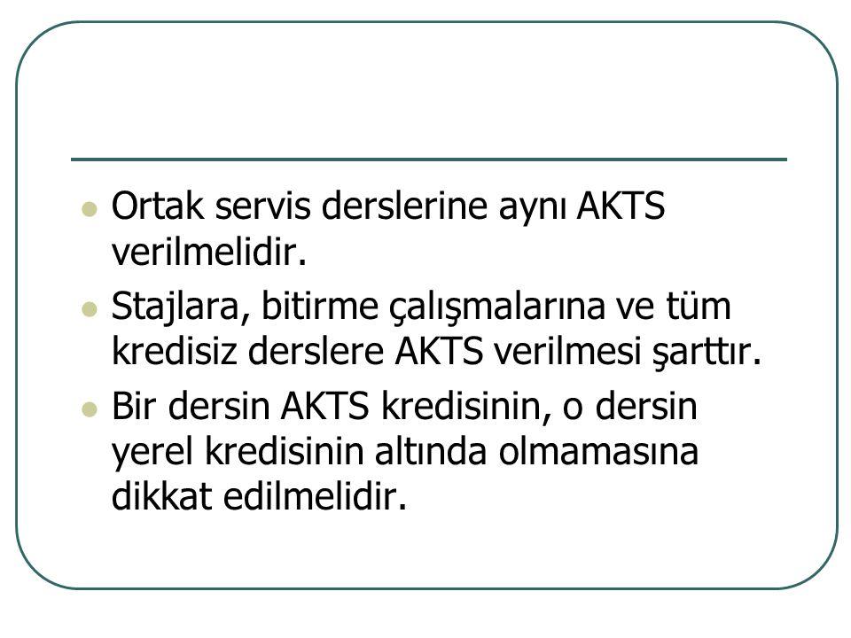 Ortak servis derslerine aynı AKTS verilmelidir.