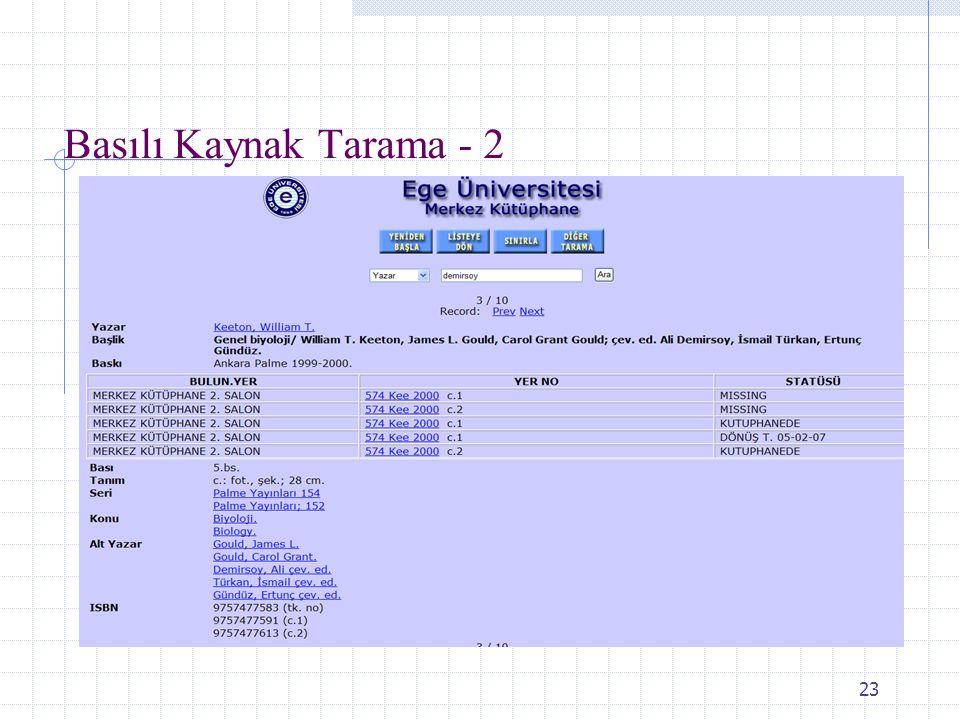 Basılı Kaynak Tarama - 2