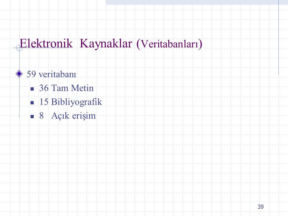 Elektronik Kaynaklar (Veritabanları)