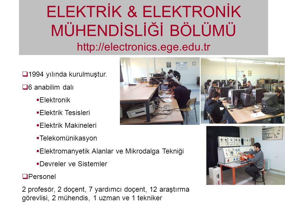 ELEKTRİK & ELEKTRONİK MÜHENDİSLİĞİ BÖLÜMÜ http://electronics. ege. edu