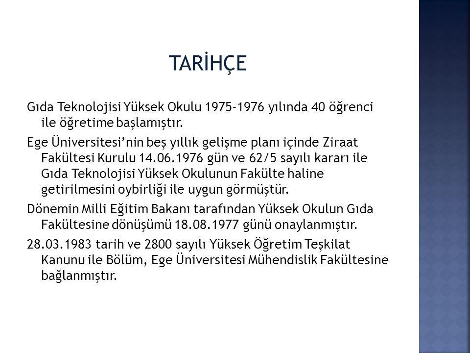TARİHÇE Gıda Teknolojisi Yüksek Okulu 1975-1976 yılında 40 öğrenci ile öğretime başlamıştır.