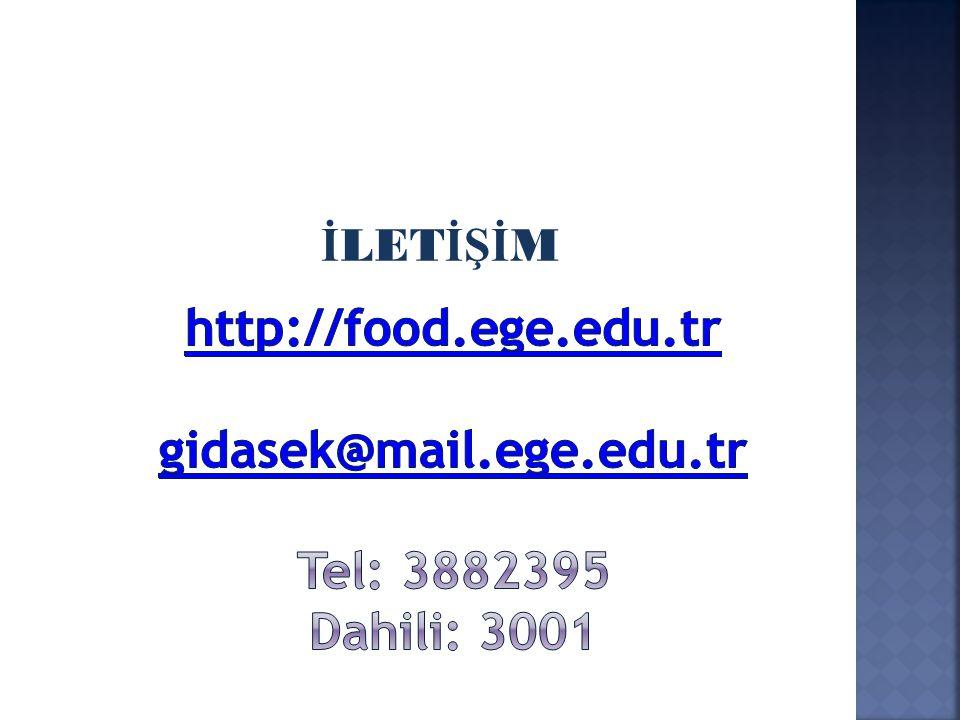 İLETİŞİM http://food.ege.edu.tr gidasek@mail.ege.edu.tr Tel: 3882395 Dahili: 3001