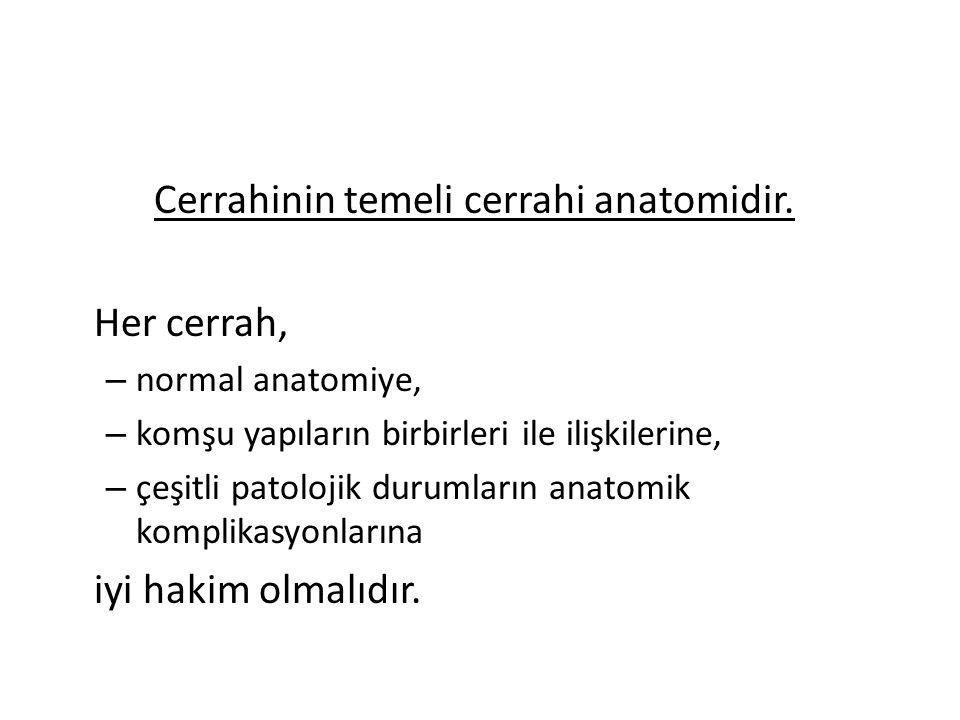 Cerrahinin temeli cerrahi anatomidir. Her cerrah,