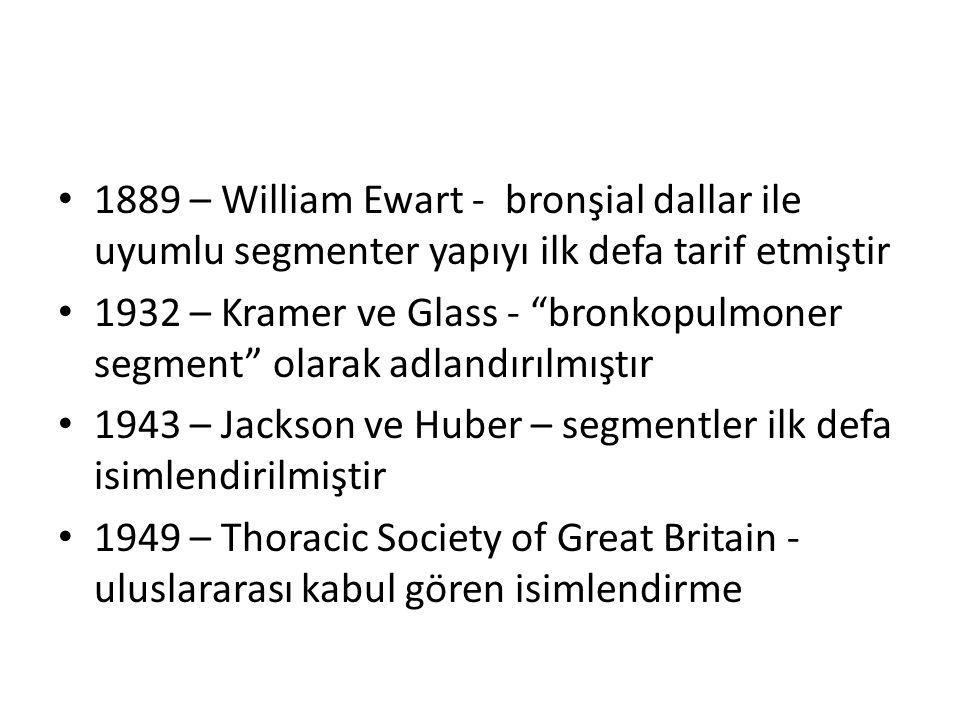 1889 – William Ewart - bronşial dallar ile uyumlu segmenter yapıyı ilk defa tarif etmiştir