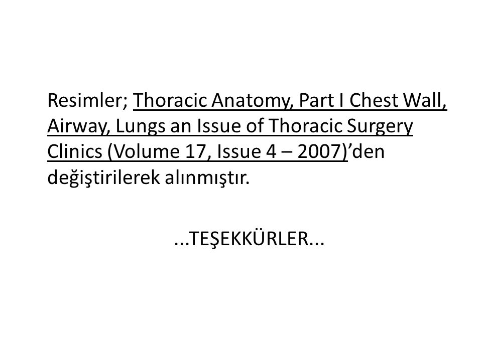 Resimler; Thoracic Anatomy, Part I Chest Wall, Airway, Lungs an Issue of Thoracic Surgery Clinics (Volume 17, Issue 4 – 2007)'den değiştirilerek alınmıştır.