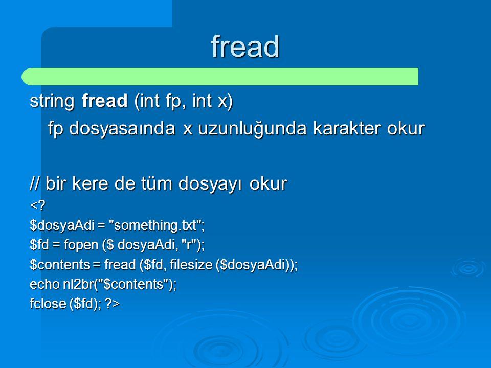 fread string fread (int fp, int x)
