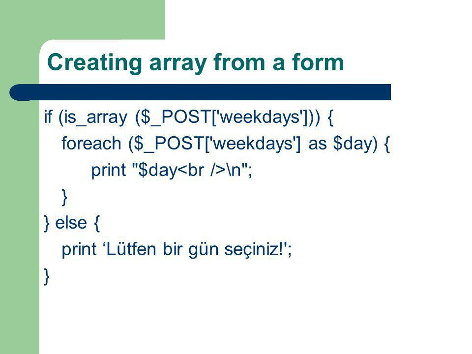 Creating array from a form