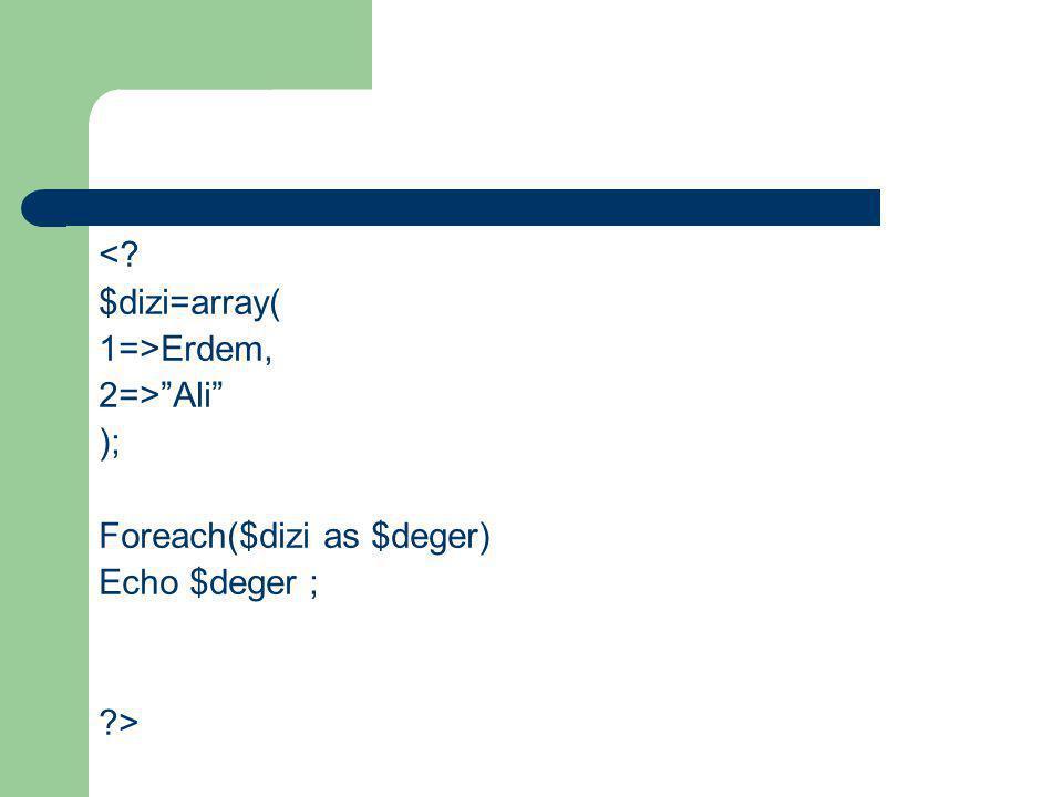 < $dizi=array( 1=>Erdem, 2=> Ali ); Foreach($dizi as $deger) Echo $deger ; >