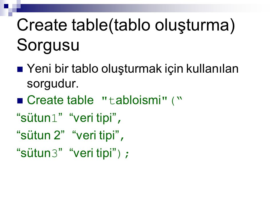 Create table(tablo oluşturma) Sorgusu