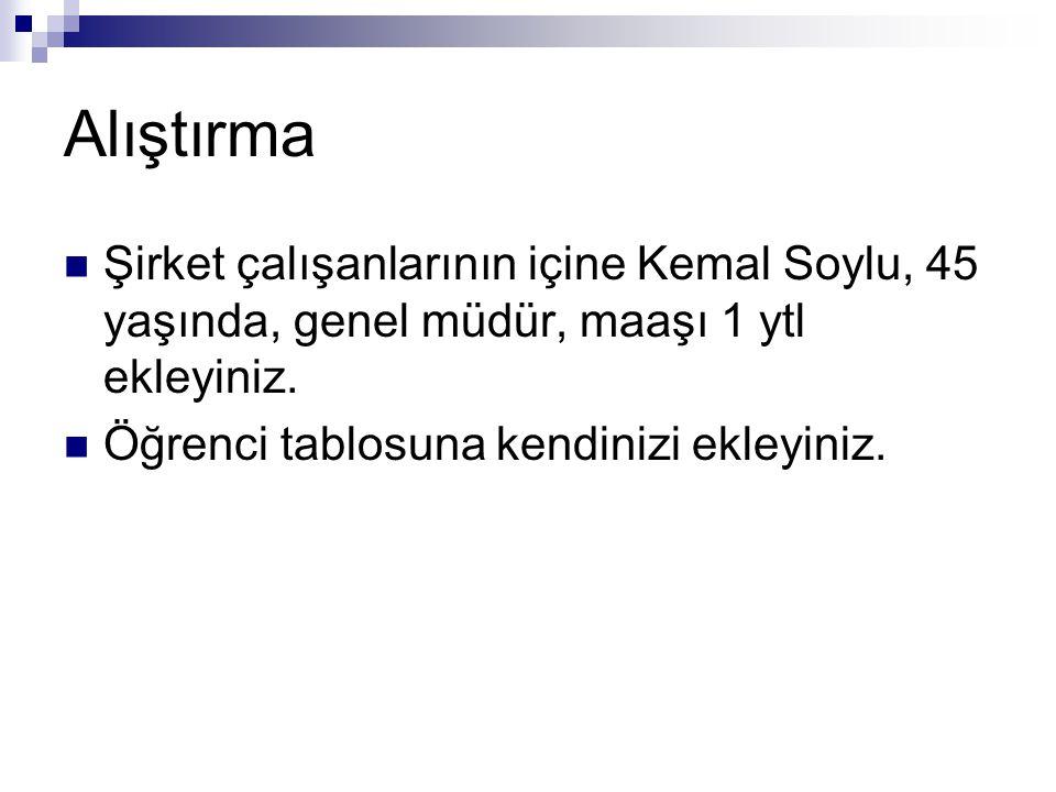 Alıştırma Şirket çalışanlarının içine Kemal Soylu, 45 yaşında, genel müdür, maaşı 1 ytl ekleyiniz.